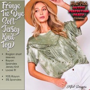 Fringe Tie Dye Soft Jersey Knit Top HOST PICK